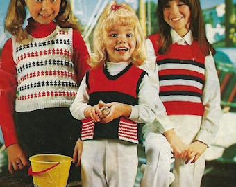 knitting pattern, children's, teens top, waistcoat, fair isle, sizes 24-34 in, pdf, digital download, instant download