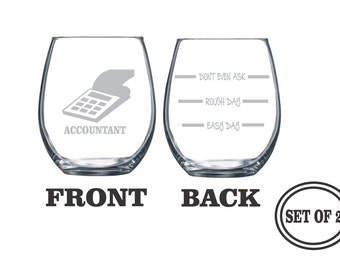 2 ACCOUNTANT PROFESSION Stemless Etched Wine Glasses Set of 2 Engraved Wine Glasses Gift for Accountant CPA Wine Glasses Gift Cocktail Glass