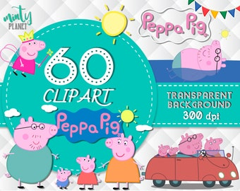 Peppa Pig Clipart, Peppa Pig characters full quality, Clipart transparent background, 300dpi, instant download, PSN013