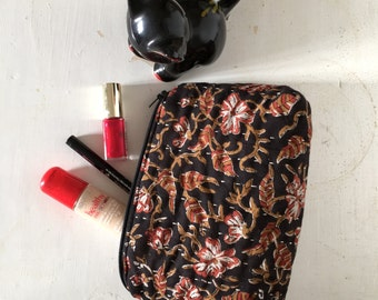 Make up Bag, Small Zip Bag, Make up Pouch, Cosmetic Bag, Black Floral Print Bag, Quilted cotton