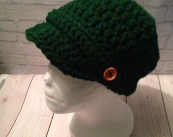 Crochet Newsboy Hat - Newsboy Cap - Baseball Hat - Newsboy Hat -News Boy Hat - Hunter Green Hat - Birthday Gift - Warm Hat