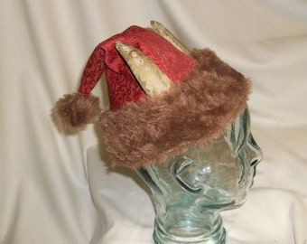 Red, Brown and Gold Krampus Hat- Santa Hat with Horns