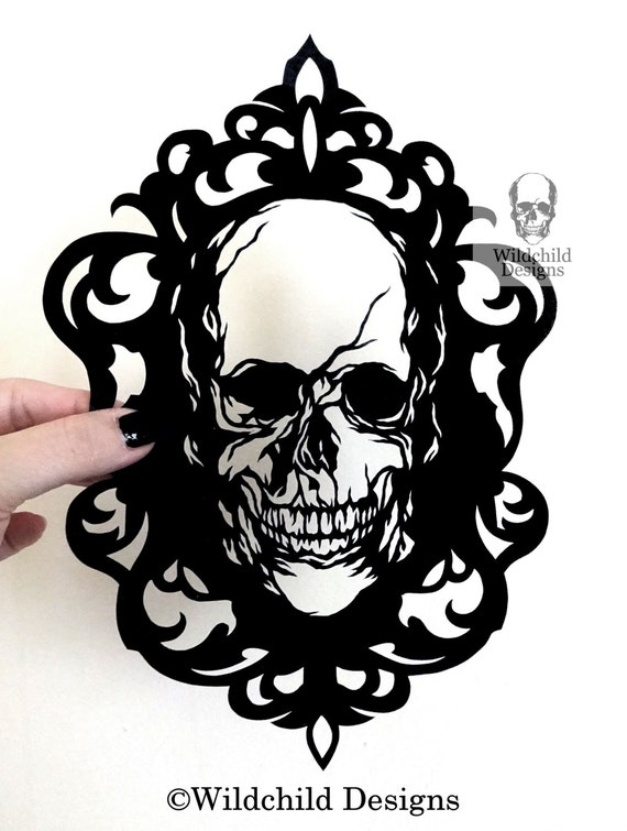 Cameo Skull Paper Cutting Template Personal Use Vinyl