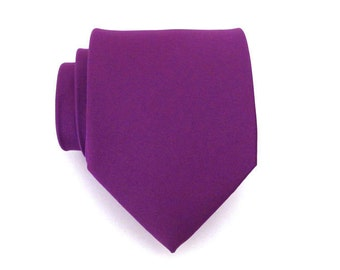 Purple Mens Ties With *FREE* Matching Pocket Square - Purple Silk Necktie and Pocket Square Set