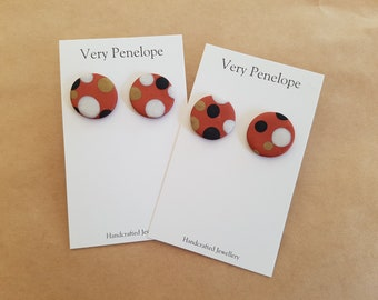 Polymer Clay Stud Earrings/polkadots on bronze