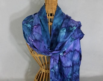 """Silk  Scarf """"Navy and Purple Blend"""", Hand Painted Silk Jacquard Shawl"""