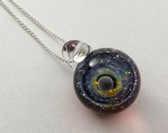 Woman Pendant, Glass pendant, Galaxy Pendant, Space Glass, Borosilicate Glass, Gilson Opal, Silver