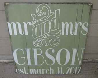 Custom Distressed Art Deco Wedding Sign- MR & MRS