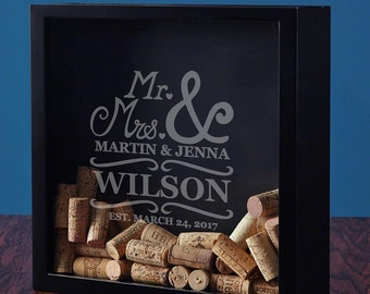 Personalized Wedding Shadow Box with Matisse Inspired Design - A Unique Custom Gift for Men & Women - Proudly Display Your Mementos Anywhere