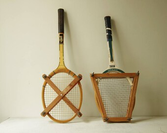 Set of 2 Vintage tennis racket with press frame. Collectible wooden tennis racket. Decorative old tennis racket.  Tunmer & Snauwaert