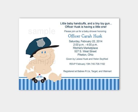 Baby cop police baby shower invitation white background filmwisefo