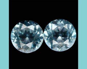 TOPAZ (35592)  * * * PAIR ( 2 Gems) Light Blue 7mm Topaz Round-  Faceted Gems