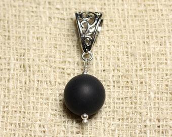 Gemstone - 12mm matte black Onyx pendant