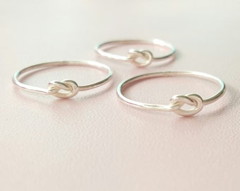 Silver Knot Ring minimalist Mothers Day gifts for women tiny thin ring jewelry sterling silver stacking ring love knot midi ring pinky ring