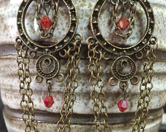 Red chandelier earrings, antique bronze chandelier earrings, chain earrings, beaded chandelier earrings, vintage earrings, red earrings