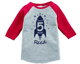 Personalized Birthday Rocket Outer Space Shirt - 3/4 or long sleeve relaxed fit raglan baseball shirt - Any age and name - pick your colors!