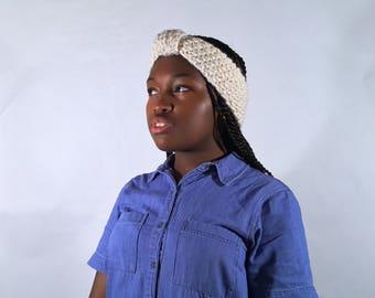White Knit Earmuffs, Chunky Knit Turban, Knit Handmade Headband, Knit Earwarmer, Knit Accessories, Wool Earmuffs, Chunky Knit Turban