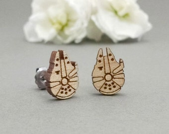 Star Wars Millennium Falcon Earrings - Laser Engraved on Maple Wood - Hypoallergenic Titanium Post Earrings