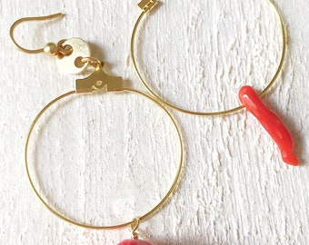 Circle Earrings with Coral and lane Pugliese