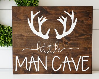 Little Man Cave Sign Rustic Boy Bedroom Nursery Decor Hand Painted Baby Boy Nursery Boys Room Decor Handmade Sign Baby Shower Gift Wood Sign