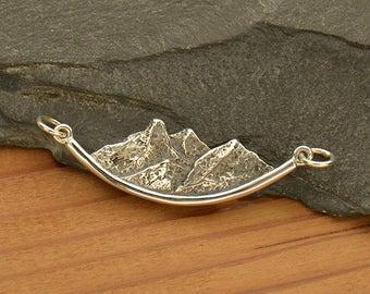 Sterling Silver, Mountain Pendant, Mountain Festoon, Charm Link, Mountain Charm, Festoon Pendant, Nature Charm, Mountain Jewelry