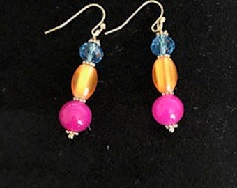 Blue,Yellow,Pink and Gold drop earrings