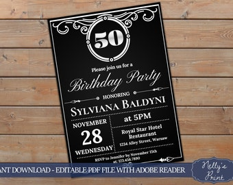 50th Birthday Invitation, Vintage Party Invitation, Adult Birthday Invitation, Adult Party Invitations, Self Editable PDF, Instant Download