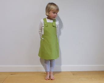Girls Pinafore Dress/ Girls Lime Green Dress/ Green Toddlers Dress/ Babies Pinafore Dress/ Girls Green Dress/ Green Pinafore/ Girls Apron
