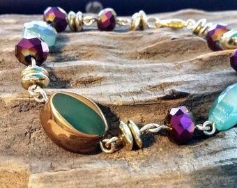 Beaded Bracelet, Beaded Jewelry, Gold Jewelry, Green Bracelet, Gold Bracelet, Purple Bracelet, Green Jewelry, Purple Jewelry