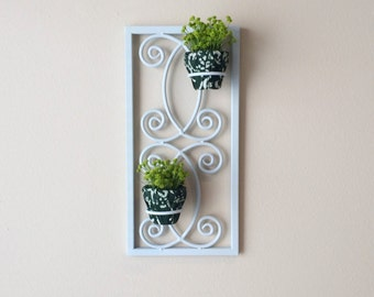 Wall Plant Holder, Metal Wall Plant Holder, Light Green Metal Wall Plant Stand, Metal Wall Art, Metal Plant Holder, Metal Plant Stand