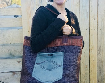 Large tote in coffee brown