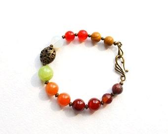 Gemstone Beads Bracelet Multicolored Bracelet Natural Stones Bracelet Boho bracelet Ethnic jewelry Tribal Bracelet Healing crystals bracelet