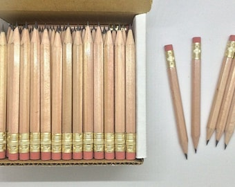 48 Natural Wood  Mini short half Hexagon Golf #2 Pencils with erasers Pre-Sharpened Made In the USA - Non Toxic Latex Free Express PencilsTM