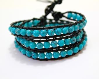 Turquoise Wrap Bracelet; Leather Wrap Bracelet, 4/5 wrap Leather Bracelet, Beaded Wrap Bracelet, Wrap leather bracelet