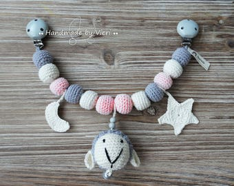 """Stroller Chain """"Sheep-star-moon"""" in Old Rose"""