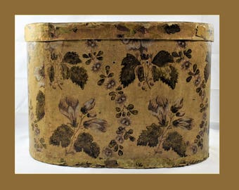 Early American Wallpaper Band Box with Decorated Lid   431