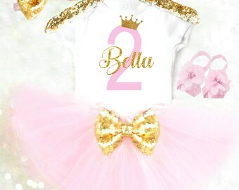 2nd Birthday Outfit Personalized Second Birthday Outfit 2nd Birthday Dress Pink and Gold Second Birthday Dress Princess Birthday Outfit Tutu