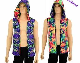 Mens UV GLOW Open Front Reversible Hooded Vest in Neon Melt/Acid Splash Rave Festival Party Apparel - 155330 pUk43Y1j1P