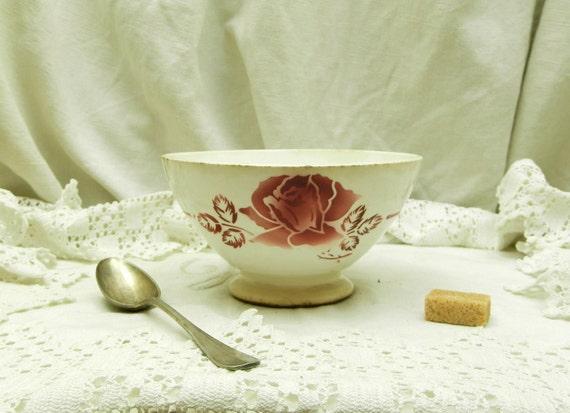 Vintage French Farmhouse Ceramic Digoin Café au Lait Bowl, French Country Cottage Coffee Bowl, Shabby Chateau Chic Kitchenware Decor