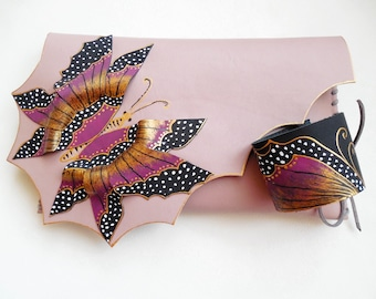 Leather Butterfly Cuff Pink Butterfly Jewelry Leather painted Bracelet Leather Wristband Leather Jewelry Pink gold butterfly wing Pink cuff