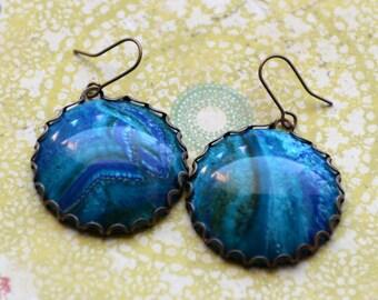 Ocean Blue Earrings, Vintage 1980s, Planet Earth Earrings, Round Earrings, Retro 80's Green and Blue Earrings, Jewelry Fine and Dandy, SRAJD