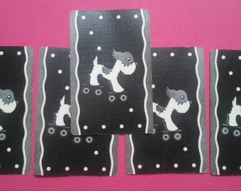 5  vintage playing cards dog on skates (2-151)
