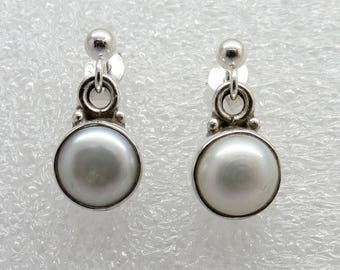 925 Sterling Silver Earrings with Pearl  8 mm Round Ball Post Dangle Earrings