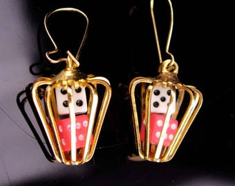 Lucky Dice Earrings / Vintage High Roller / Casino Gamblers gift / Miniature dice / Novelty earrings / caged dice / gold Gambling Jewelry