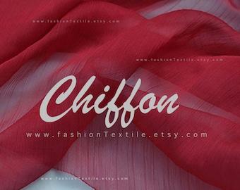 Solid Burgundy Chiffon faux silk fabric by meter