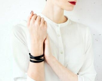 Black leather bracelet, Wrap bracelet, Women leather bracelet, Leather bangle Black leather bracelet wrap around wrist, triple wrap bracelet