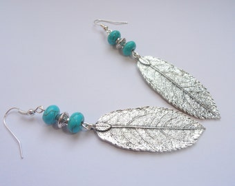 Boho earrings, Leaf earrings, Silver leaf and turquoise earrings, Silver bohemian earrings, Boho turquoise earrings, Boho jewellery