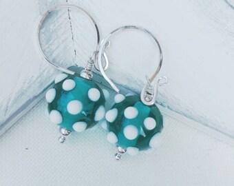 Teal blue sputnik earrings