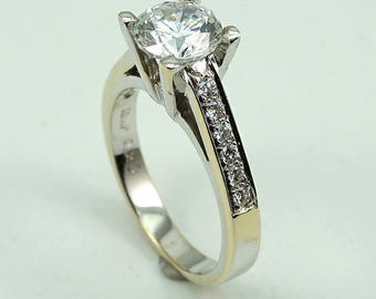 Engagement Ring 18K WG CZ Center Stone with 12-Diam Side Stones at 0.23 Cts.