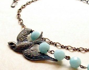 Bird Necklace with Blue Green Gemstones Jewelry, Gift for Her Jewelry, Nature Lover Gift, Gift for Bird Watcher sale